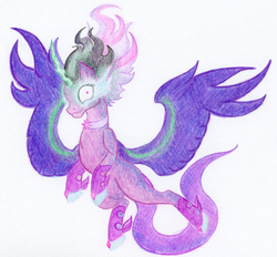 Size: 2050x1900   Tagged: safe, artist:maximanxd, sci-twi, twilight sparkle, alicorn, pony, equestria girls, commission, equestria girls ponified, female, glowing eyes, mare, midnight sparkle, ponified, simple background, solo, spread wings, traditional art, twilight sparkle (alicorn), wings