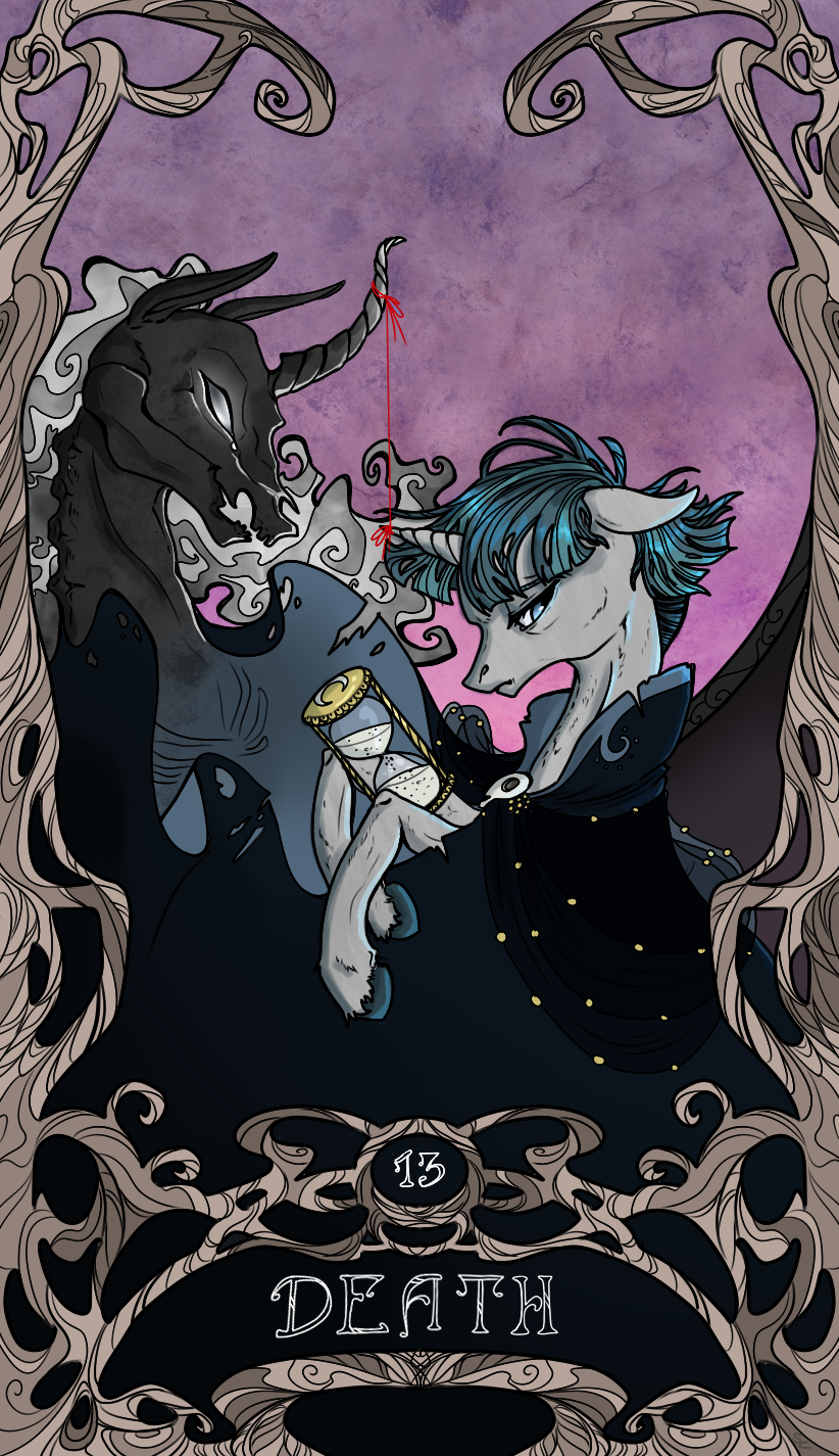 ... hourglass, major arcana, male, pony, pony of shadows, safe, stallion, stygian, tarot, tarot card, tarot:death, unicorn - Derpibooru - My Little Pony: ...