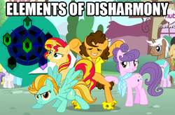 Size: 615x403 | Tagged: cheese sandwich, cherry cola, cherry fizzy, happy, image macro, lightning dust, meme, mochaccino, rare find, safe, sunset shimmer, suri polomare, tornado bolt