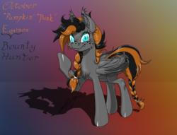 Size: 1600x1223 | Tagged: safe, artist:ravvij, oc, oc only, oc:october equinox, bat, bat pony, pony, vampire, vampony, :t, bat pony oc, bat wings, bounty hunter, bracelet, braid, braided tail, butt, cheek fluff, chest fluff, collar, cute, ear fluff, ear freckles, ear piercing, ear tufts, eyebrow piercing, eyelashes, fangs, female, fluffy, food, freckles, goth, gradient background, halloween, highlights, holiday, hoof over mouth, jewelry, leg fluff, looking at you, mane, mare, moon, ocbetes, piercing, plot, punk, raised hoof, reference sheet, shoulder fluff, slit eyes, smiling, solo, spiked collar, spiked wristband, spread wings, tail, tail wrap, text, two toned mane, wall of tags, wing fluff, wing freckles, wings, wip, wristband