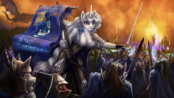 Size: 1920x1080 | Tagged: anthro, armor, artist:willhemtier, banner, battlefield, charging, dragon, ear piercing, earring, jewelry, looking at you, oc, oc:platinum decree, piercing, rapier, safe, scenery, sword, unicorn, war, weapon
