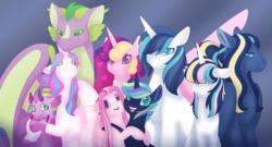 Size: 2771x1500 | Tagged: safe, artist:nobleclay, princess cadance, princess flurry heart, shining armor, spike, oc, oc:agape heart, oc:draconus, oc:eros heart, oc:pure heart, oc:rythmic beat, alicorn, dracony, dragon, hybrid, pegasus, pony, unicorn, adult, adult spike, colored pupils, family photo, female, floppy ears, flurryspike, holding, hug, interspecies offspring, male, offspring, older, older flurry heart, older spike, parent:princess cadance, parent:princess flurry heart, parent:shining armor, parent:spike, parents:flurryspike, parents:shiningcadance, shiningcadance, shipping, straight, winged spike