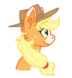 Size: 367x398 | Tagged: safe, artist:medicalmysteries, applejack, earth pony, pony, female, freckles, hat, mare, simple background, smiling, solo, white background