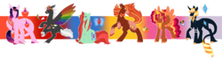 Size: 6199x1691 | Tagged: safe, artist:nobleclay, applejack, fluttershy, pinkie pie, rainbow dash, rarity, twilight sparkle, classical unicorn, pegasus, pony, unicorn, alternate color palette, alternate design, book, bow, cloven hooves, coat markings, colored wings, earth pony fluttershy, goggles, gradient background, hair bow, hatless, jewelry, leonine tail, mane six, missing accessory, multicolored wings, necklace, pegasus pinkie pie, race swap, rainbow wings, rearing, redesign, ribbon, simple background, spread wings, tail feathers, transparent background, unicorn twilight, unshorn fetlocks, wings