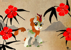 Size: 4961x3508 | Tagged: safe, artist:edonovaillustrator, autumn blaze, kirin, sounds of silence, cloven hooves, female, flower, lineless, looking at you, open mouth, raised hoof, shadow, smiling, solo