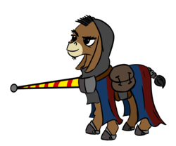 Size: 1100x916 | Tagged: adventurer, armor, artist:velgarn, donkey, donkey oc, facial hair, horseshoes, jousting, jousting outfit, knight, knight errant, lance, male, non-pony oc, oc, oc:garolfo rigamonti, oc only, safe, seeds of harmony, simple background, solo, weapon, white background