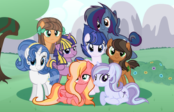 Size: 1343x863 | Tagged: safe, artist:awoomarblesoda, oc, oc only, oc:apple incense, oc:cloud storm, oc:crowned beauty, oc:ginger gold, oc:milk chocolate, oc:silver shield, oc:starlit sensation lulamoon, oc:twila, alicorn, earth pony, pony, unicorn, alicorn oc, base used, bow, bush, female, freckles, group photo, hair bow, half-siblings, horn, magical lesbian spawn, mare, mountain, next generation, offspring, parent:applejack, parent:big macintosh, parent:cheese sandwich, parent:fancypants, parent:flash sentry, parent:fluttershy, parent:pinkie pie, parent:prince blueblood, parent:rainbow dash, parent:rarity, parent:soarin', parent:starlight glimmer, parent:trixie, parent:troubleshoes clyde, parent:twilight sparkle, parents:cheesepie, parents:flashlight, parents:fluttermac, parents:raripants, parents:soarindash, parents:startrix, parents:troublejack, parents:twiblood, tree, wings