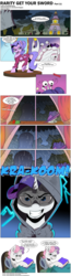 Size: 1164x4500 | Tagged: artist:doublewbrothers, artist:dsana, artist:saturdaymorningproj, bed, blanket, book, cape, carousel boutique, cloak, clothes, cloud, cloudy, collaboration, comic, comic:rarity get your sword, crab, curtain, curtains, dark, dialogue, earth pony, english, evil grin, fabric, fake horn, fashion, female, filly, frown, grin, gritted teeth, hat, hood, hooded cloak, hoof hold, horn, house, hut, indoors, lidded eyes, lightning, looking at you, lying, male, mare, mirror, monologue, oc, oc:tom the crab, on back, onomatopoeia, outdoors, pedestal, pony, ponyville, pose, rain, raised hoof, rarity, rarity's hair, sad, safe, smiling, snapping, snipping, speech bubble, spool, standing, storm, sweetie belle, talking, thread, thunder, torn clothes, tree, underhoof, unicorn, unnamed oc, wig, window