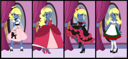 Size: 2797x1291 | Tagged: safe, artist:nstone53, oc, oc:azure/sapphire, equestria girls, 1950s, beer maiden, cancan dancer, clothes, crossdressing, dirndl, dress, equestria girls-ified, femboy, halloween, holiday, male, nightmare night, poodle skirt, princess, saloon dress, sockhop