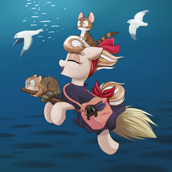 Size: 2000x2000 | Tagged: animal, artist:ravensunart, bird, bow, broom, cat, clothes, costume, crossover, eyes closed, female, flying, flying broomstick, kiki's delivery service, mare, oc, oc:cinnamon spangled, ocean, rabbit, safe, seagull, solo, studio ghibli, witch