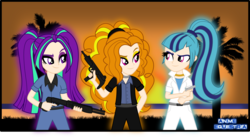 Size: 1985x1087 | Tagged: safe, artist:anime-equestria, adagio dazzle, aria blaze, sonata dusk, equestria girls, beach, clothes, crossover, grand theft auto, grass, group, gta vice city, gun, handgun, human coloration, machine gun, ocean, pistol, shotgun, smiling, spas-12, suit, sunset, uzi, vice city, weapon