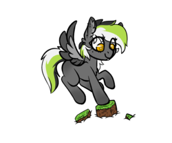 Size: 1314x1087   Tagged: safe, artist:spoopygander, oc, oc only, oc:graphite sketch, pegasus, pony, chest fluff, chibi, colored wings, cute, ear fluff, female, flying, looking down, mare, minecraft, multicolored hair, multicolored wings, outline, piercing, simple background, smiling, solo, transparent background