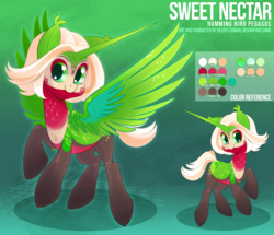 Size: 2500x2150 | Tagged: safe, artist:zombie, oc, oc only, oc:sweet nectar, bird pone, hummingbird, original species, pony, female, horn, mare, ponified, reference sheet, solo, wings