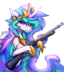Size: 1550x1750 | Tagged: alicorn, artist:oksara, crown, female, frown, gun, hoof hold, hoof shoes, jewelry, mare, peytral, pony, princess celestia, regalia, safe, shotgun, simple background, solo, weapon, white background