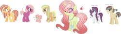 Size: 2528x708 | Tagged: safe, artist:emabases, oc, oc only, oc:apple coin, oc:charm music, oc:lovecolor apple, oc:note love, unnamed oc, changepony, hybrid, pony, base used, crack ship offspring, interspecies offspring, magical lesbian spawn, offspring, parent:applejack, parent:big macintosh, parent:cheerilee, parent:cheese sandwich, parent:coloratura, parent:feather bangs, parent:flim, parent:pinkie pie, parent:princess celestia, parent:rainbow dash, parent:thorax, parents:appledash, parents:cheerimac, parents:cheesepie, parents:colorabangs, parents:flimjack, parents:thoralestia, simple background, white background