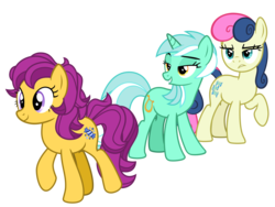 Size: 4000x3000 | Tagged: safe, artist:cheezedoodle96, bon bon, bon bon (g1), lyra heartstrings, sweetie drops, earth pony, pony, unicorn, my little pony tales, .svg available, 35th anniversary, angry, bedroom eyes, bon bon is not amused, bonlyrabon, distracted boyfriend meme, female, frown, furrowed brow, g1, g1 to g4, generation leap, generational ponidox, jealous, jealous girlfriend meme, lesbian, lidded eyes, lip bite, lyrabon, mare, meme, raised hoof, shipping, simple background, svg, transparent background, unamused, vector, wrongbon