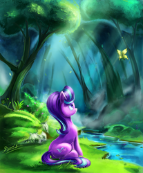 Size: 3780x4567 | Tagged: absurd res, artist:light-of-inirida, butterfly, crepuscular rays, female, forest, looking up, mare, pony, river, safe, scenery, sitting, solo, starlight glimmer, tree, unicorn
