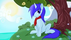 Size: 1280x720   Tagged: safe, artist:wolyro pegasus, oc, oc only, butterfly, pony, unicorn, clothes, cloud, female, flower, grass, looking at you, mare, mountain, ocean, scarf, sitting, sky, solo, sun, tree
