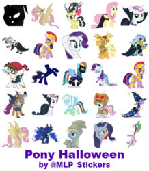 Size: 364x418 | Tagged: safe, artist:mlpcreativelab, applejack, derpy hooves, fluttershy, pipsqueak, princess luna, rainbow dash, rarity, scootaloo, spike, sweetie belle, twilight sparkle, zecora, alicorn, bat pony, earth pony, headless horse, mermaid, pegasus, pony, unicorn, 28 pranks later, bats!, luna eclipsed, scare master, animal costume, armor, astrodash, athena sparkle, bat ponified, bride of frankenstein, clothes, cookie zombie, costume, dracula, flutterbat, halloween, headless, holiday, mermarity, nightmare night costume, paper bag, paper bag wizard, pirate, race swap, shadowbolt dash, shadowbolts costume, simple background, star swirl the bearded costume, telegram sticker, twilight sparkle (alicorn), white background, wolf costume