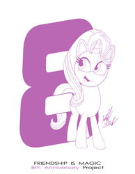 Size: 1086x1400 | Tagged: anniversary, artist:fuzon-s, happy, happy birthday mlp:fim, mlp fim's eighth anniversary, part of a set, pony, pony channel, safe, sketch, solo, starlight glimmer, style emulation, unicorn, yuji uekawa style