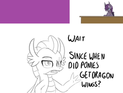 Size: 1152x867 | Tagged: artist:sintakhra, bat pony, dragon, lineart, monochrome, pony, safe, smolder, speech, tumblr:studentsix