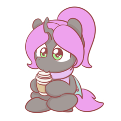 Size: 1280x1280 | Tagged: artist:sugar morning, changeling, chibi, coffee, cute, oc, oc only, oc:violet nebula, pony, ponytail, safe, simple background, sitting down, solo, transparent background