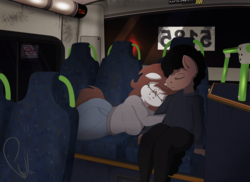 Size: 2000x1453 | Tagged: anthro, artist:phyll, bus, clothes, floppy ears, hug, oc, oc only, oc:pampa, oc:phyll, portuguese, safe, seat, signature, sleeping