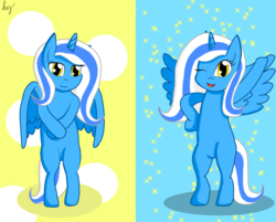 Size: 3175x2551 | Tagged: abstract background, alicorn, alicorn oc, artist:mylittlefanart1111, bipedal, oc, oc:fleurbelle, one eye closed, pony, safe, signature, wink