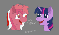 Size: 771x465 | Tagged: 35th anniversary, artist:coldfire, blah blah blah, bust, derpibooru exclusive, ear fluff, female, flat colors, galaxy (g1), happy, mare, open mouth, pony, safe, simple background, twilight sparkle, unicorn