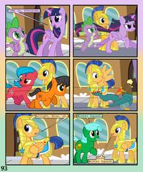 Size: 900x1080 | Tagged: safe, artist:lister-of-smeg, flash sentry, spike, twilight sparkle, oc, oc:crosspatch, oc:lazybug, oc:scavenger (lister-of-smeg), oc:winter squash, alicorn, cockatrice, earth pony, pegasus, pony, comic:crystal heart attack, colt, comic, female, male, mare, twilight sparkle (alicorn)