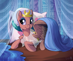 Size: 1800x1500   Tagged: safe, artist:sirzi, somnambula, pegasus, pony, bed, clothes, female, hieroglyphics, looking at you, mare, pillow, prone, smiling, solo