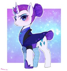 Size: 3343x3520   Tagged: safe, artist:hosikawa, rarity, pony, unicorn, the cutie re-mark, alternate timeline, clothes, female, mare, night maid rarity, nightmare takeover timeline, solo
