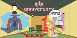 Size: 1972x985 | Tagged: 35th anniversary, apple bloom, applejack, artist:planetkiller, big macintosh, broken jar, broken wall, clubhouse, crossover, crusaders clubhouse, derpibooru exclusive, food, happy birthday mlp:fim, jam, lamp, lord tirek, pacifier, podium, safe, scared, scootaloo, sweetie belle, table, text, the simpsons, treehouse of horror, window