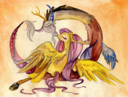 Size: 1000x758 | Tagged: artist:enfant-des-reves, discord, discoshy, draconequus, eyes closed, female, fluttershy, kissing, male, mare, pegasus, pony, safe, shipping, straight, traditional art