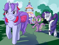 Size: 1600x1200   Tagged: safe, artist:hakirayleigh, rarity, sparkler (g1), spike, dragon, pony, unicorn, g1, 35th anniversary, :3, angry, bow, carousel boutique, distracted boyfriend meme, eyes on the prize, female, frown, g1 to g4, generation leap, glare, implied shipping, implied sparity, implied straight, looking back, mare, meme, open mouth, raised hoof, smiling, tail bow, walking, wide eyes, winged spike