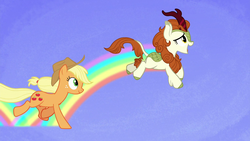 Size: 1280x720   Tagged: safe, screencap, applejack, autumn blaze, earth pony, kirin, pony, sounds of silence, a kirin tale, blue background, duo, female, mare, rainbow, running, simple background