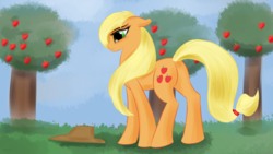 Size: 3840x2160 | Tagged: applejack, apple tree, artist:renarde-louve, cowboy hat, earth pony, female, hat, mare, pony, safe, solo, stetson, tree