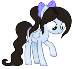 Size: 855x807 | Tagged: artist:cindypinkartje, bow, female, filly, hair bow, oc, oc:lucy, pegasus, pony, ponytail, safe, simple background, solo, transparent background