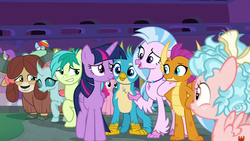 Size: 1280x720 | Tagged: safe, screencap, cozy glow, gallus, ocellus, pinkie pie, rainbow dash, sandbar, silverstream, smolder, twilight sparkle, yona, alicorn, changedling, changeling, classical hippogriff, dragon, earth pony, griffon, hippogriff, pegasus, pony, yak, school raze, bow, claws, cute, cutie mark, dragoness, female, filly, gallabetes, hair bow, jewelry, male, mare, monkey swings, necklace, raised eyebrow, smiling, smirk, student six, teenager, twilight sparkle (alicorn), wings