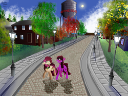 Size: 1600x1200 | Tagged: advertisement, artist:brainiac, berry punch, berryshine, fallout equestria, roseluck, safe, scenery, second life, town