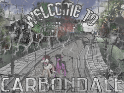 Size: 1600x1200 | Tagged: advertisement, artist:brainiac, berry punch, berryshine, derpibooru exclusive, fallout equestria, roseluck, safe, scenery, second life, town, withered