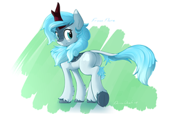 Size: 3865x2545   Tagged: safe, artist:derpydash, derpibooru exclusive, oc, oc only, oc:frost flare, kirin, abstract background, cloven hooves, cute, female, kirin oc, looking at you, looking back, looking back at you, ocbetes, plot, solo
