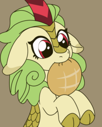 Size: 612x762 | Tagged: safe, artist:lockhe4rt, spring glow, kirin, sounds of silence, bread, brown background, cute, eating, female, floppy ears, food, melon pan, mouth hold, nom, simple background, solo