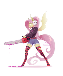 Size: 1174x1424 | Tagged: anthro, artist:ladychimaera, bat pony, belt, chainsaw, clothes, digital art, fake blood, female, flutterbat, fluttershy, halloween, hockey mask, holiday, juice, mask, race swap, safe, shorts, simple background, smiling, socks, solo, striped socks, sweater, thigh highs, unguligrade anthro, white background