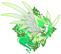 Size: 3299x2933 | Tagged: safe, artist:taiga-blackfield, oc, oc only, oc:eos, alicorn, pony, alicorn oc, clothes, crystal, ethereal mane, green eyes, green mane, jewelry, regalia, shoes, simple background, solo, spread wings, transparent background, wings