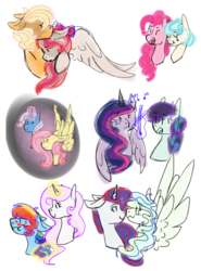 Size: 1024x1385 | Tagged: alicorn, angeljack, angel wings, artist:sparkythedoog, cocopie, coco pommel, crack shipping, female, fleurdash, fleur-de-lis, fluttershy, lesbian, pinkie pie, rainbow dash, rarity, safe, shipping, trixie, trixieshy, twilight sparkle, twilight sparkle (alicorn), twiratura, vapority, vapor trail