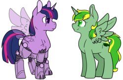 Size: 1450x950 | Tagged: safe, artist:cloureed, twilight sparkle, oc, oc:meadow dawn, alicorn, cyborg, pony, alternate timeline, alternate universe, amputee, commander twilight, fanfic, fanfic art, fanfic cover, prosthetic leg, prosthetic limb, prosthetics, quadruple amputee, simple background, transparent background, transparent wings, twilight sparkle (alicorn)