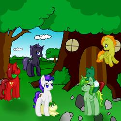 Size: 1000x1000 | Tagged: safe, artist:cloureed, oc, oc:cherry dancer, oc:meadow dawn, oc:stalwart shield, oc:starlight dusk, pony, colt, female, filly, foal, male