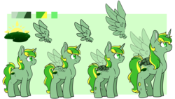 Size: 4000x2250 | Tagged: safe, artist:cloureed, oc, oc:meadow dawn, alicorn, changeling, hybrid, pony, alicorn oc, reference sheet