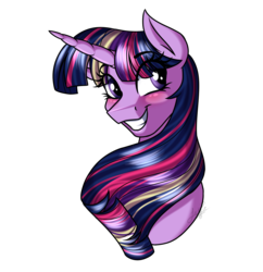 Size: 3000x3100 | Tagged: artist:jack-pie, bust, female, grin, head only, mare, pony, rainbow power, safe, simple background, smiling, solo, transparent background, twilight sparkle, twilight sparkle (alicorn)